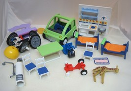 16 Piece Playmobil Geobra Part Pieces Cars Beds Kitchen Chairs 1989-1999 More - $34.16