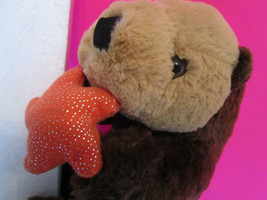 "Unipak Plush Toy BROWN SEA OTTER w/ Starfish, dated 2014,  16"" long head... - $7.99"