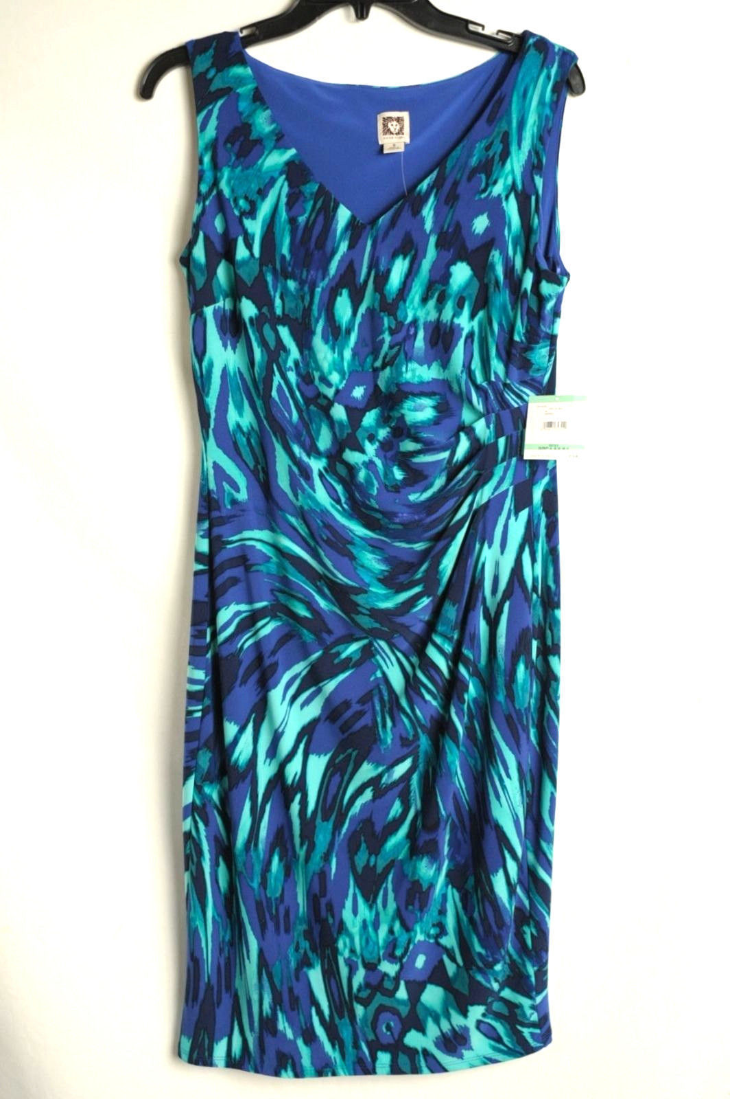 NWT Anne Klein GYPSY Teal Blue Dress Womens 8 $119  Knee-Length Sleeveless
