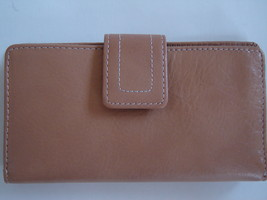 FOSSIL WOMEN'S WALLET CHECKBOOK CLUTCH GENUINE 100%LEATHER TAN SOLID NEW... - $59.90