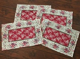 "Boston Color Collection Red Brown Cream Placemat Set 4 pc New  14x20"" - $15.79"