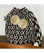 Authentic 100% Wayuu Mochila Colombian Bag Large Size black and beige po... - $90.00