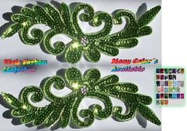 a pair appliques sequins applikationen pailletten sew on embroidery hand... - $9.99