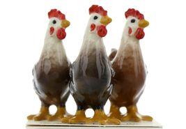 Hagen Renaker Miniature Chicken Leghorn Hens Set of 3 in Black, Brown & Red image 3