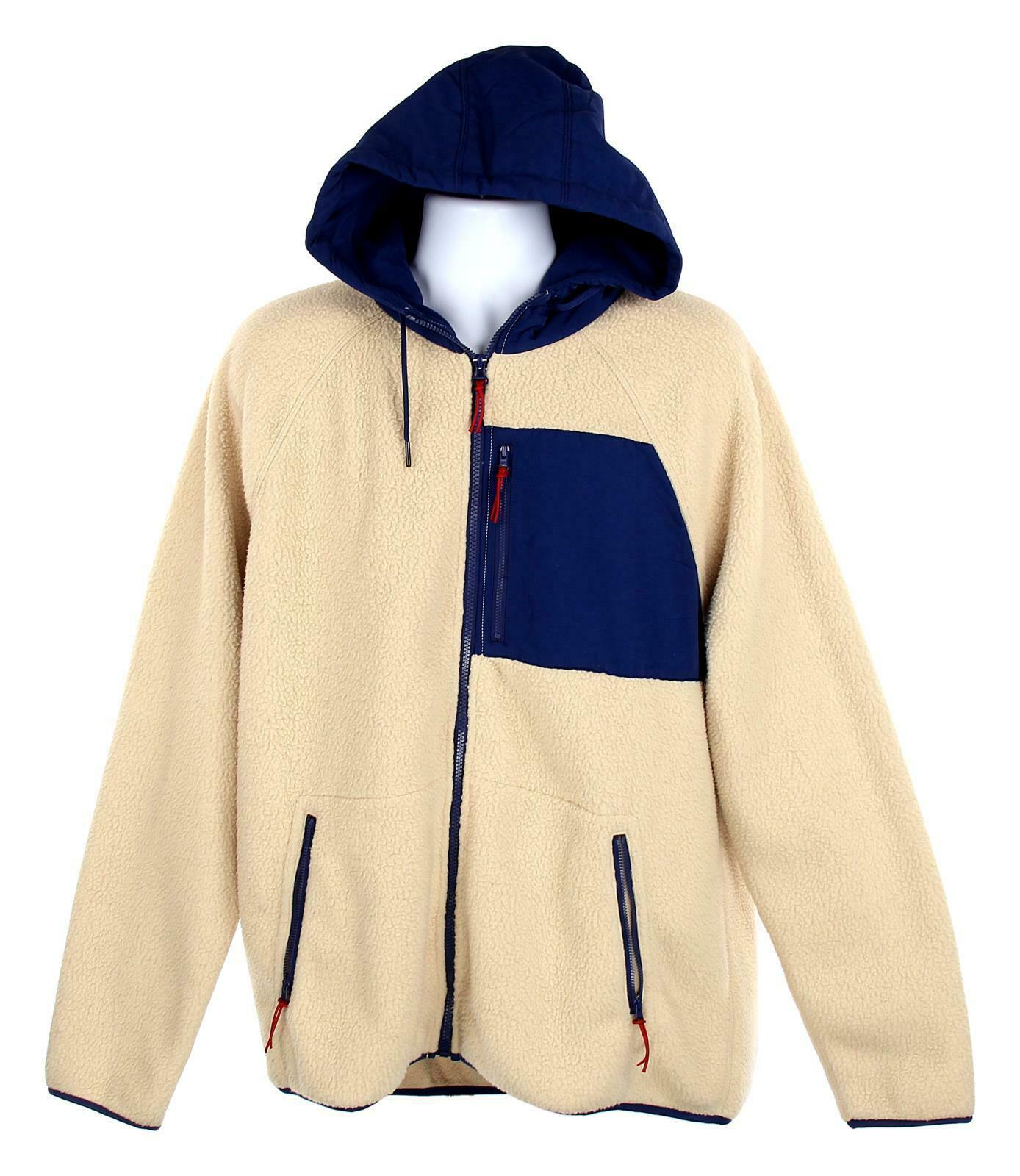 J Crew Mens Sherpa Zip Front Hooded Jacket Fleece Coat XL Navy Cream K4296 image 2