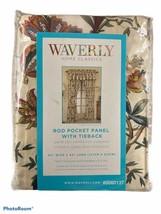 "Waverly FELICITE Creme Drapery Panel 50"" x 84"" Rod Pocket w/Tieback Jacobean NEW - $39.59"