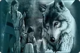 Native Indian Women Wolf Outdoor Bow Hunting Wilderness Mystic Guns Art ... - $20.53
