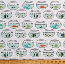 Fish Bowls Fishbowls Swimming in Circles Cotton Fabric Print by the Yard... - $11.95