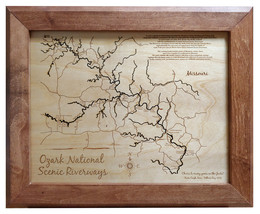 Ozark National Scenic Riverways, Missouri - Wood Laser Cut Map - Wall Hanging - $124.99+