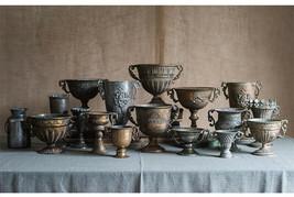Vintage Vase Metal Ancient Wedding Decoration Home Flower Pot Golden Sil... - $46.54+