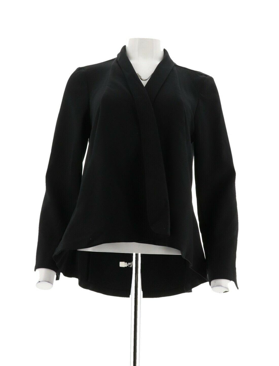 H Halston Long Slv Open Front Jacket Seam Black 12 NEW A303200