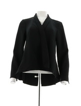 H Halston Long Slv Open Front Jacket Seam Black 12 NEW A303200 - $38.59