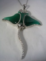 STINGRAY PENDANT WITH GREEN QUARTZ AND CUBIC ZIRCONIA SET IN STERLING SI... - $148.45