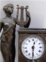 Amazing antique WMF German silvered mantel/desk clock with lady figurine... - $1,900.00