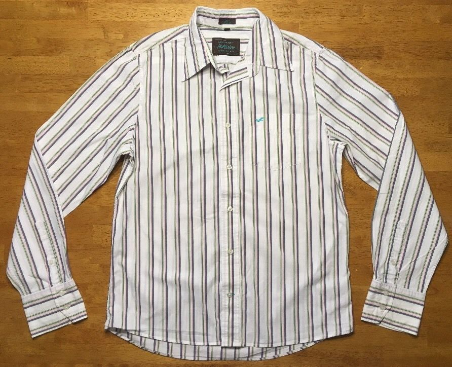 1e6c570ce1 57. 57. Previous. Hollister Men's White, Pink, Green & Blue Striped Long  Sleeve Dress Shirt Large