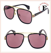 GUCCI Stripe 0448 Black Gold Violet Sport Square Aviator Sunglasses GG04... - $301.95