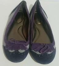 Land's End Women's Suede Flats 7.5B Slip On Kilt Fringe Bow Gray Black Purple - $19.39