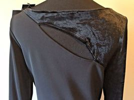 Anne Klein Black Velvet & Rayon Cutout Long Formal Dress size S M NWT $225 DS7 image 7