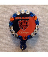 Nfl Chicago Bears Badge Reel Id Holder Swarovski orange blue alligator c... - $10.99