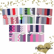 Nautical Scrapbook Papers Preppy Classic Nautical Pink Blue Red White Navy - $6.50