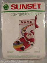 Stocking Christmas Santa Rides A Rainbow Sunset Counted Cross Stitch Kit... - $23.75