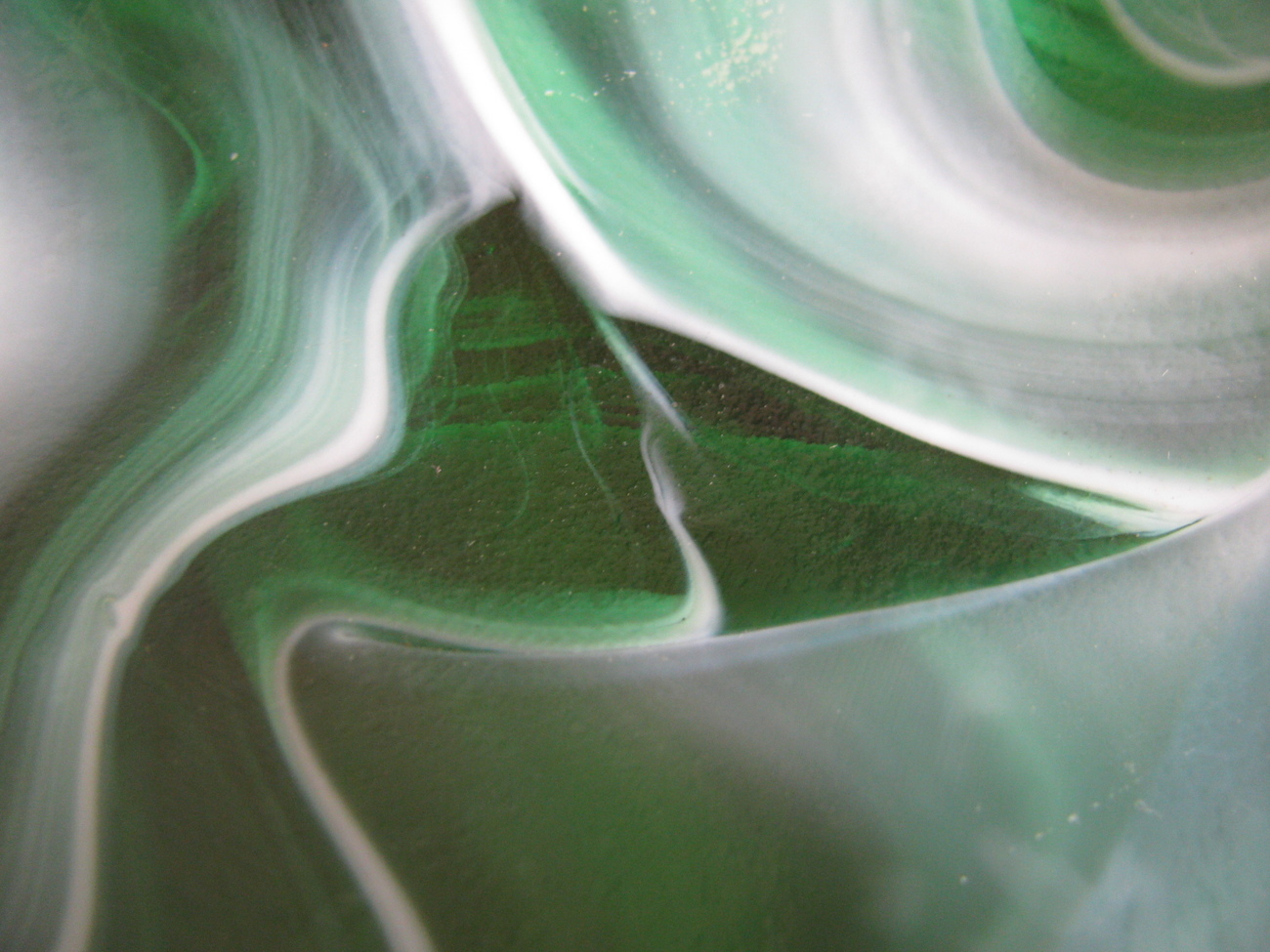 Vintage Green and White Swirled Glass Vessel