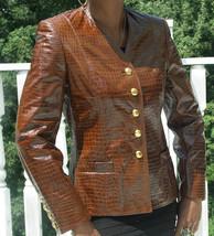 New Nwot Stylish Escada crocodile embossed leather jacket Coat Stroller ... - $692.99