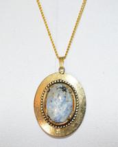 Blue White Purple Black Agate Stone Gold Tone Pendant Necklace Vintage - $24.74