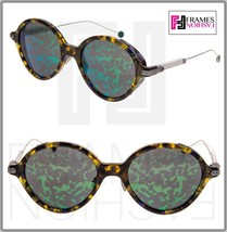 CHRISTIAN DIOR UMBRAGE Palladium Havana Green Mirrored Foliage Round Sun... - $286.11