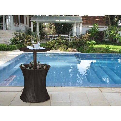 Patio Cooler Table Outdoor Furniture Brown Rattan Ice Bucket Stand Drink Holder