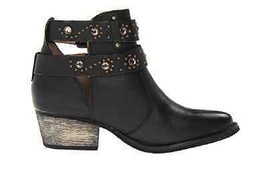 BETSEY JOHNSON Willow Black Leather Rhinestone Bootie Boots Size 7.5 - £55.63 GBP
