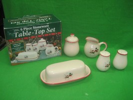 Vintage Six (6) Piece Stoneware Table Top Set Royal Seasons Christmas Sn... - $18.66