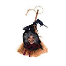Halloween Party Witch In Maroon Ribbon Broomstick Hanging Decoration Sup... - $3.99