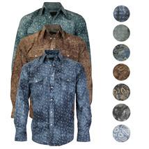 LW Men's Western Cowboy Pearl Snap Long Sleeve Slim Fit Rodeo Casual Dress Shirt