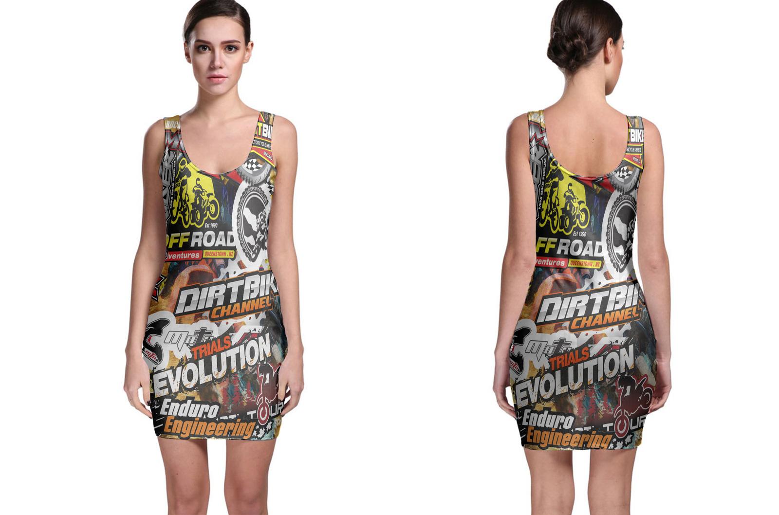 Dirt Bike Rider MX Xtreme Stickerbomb Bodycon Dress