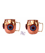 PURE COPPER ORNATE HAMMERED WINE MUG COFFEE MUG BEER MUG JUICE MUG SET OF 2 - $46.27