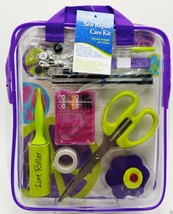 Sewing Repair Mend Kit Scissor Needle Thread Buttons Pins Purple Case Dr... - $14.99