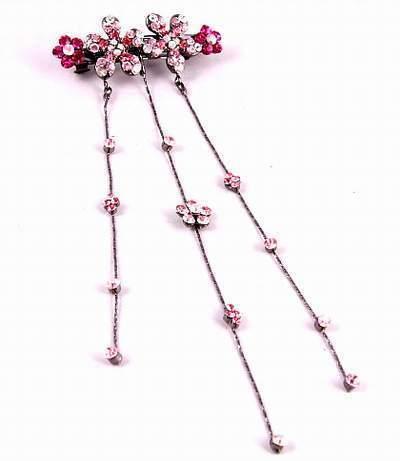 "Austrian Crystal Hair Barrette ""Aurora"" Pink free organza bag"
