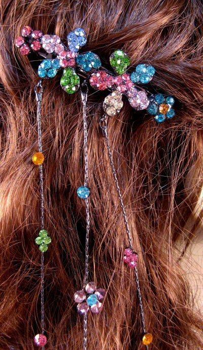 "Austrian Crystal Hair Barrette ""Aurora"" Multi Color free organza bag"