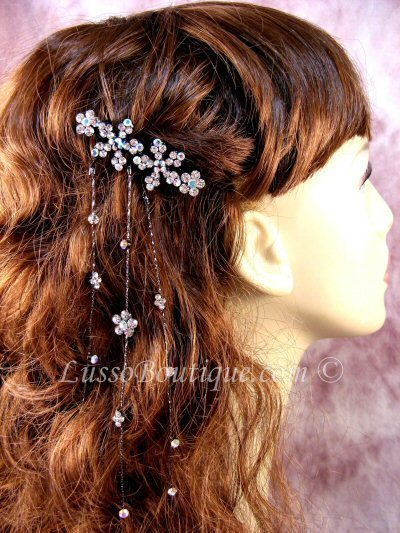 "Primary image for Austrian Crystal Hair Barrette ""Aurora"" Clear free organza bag"