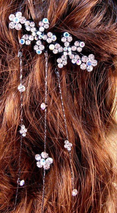 "Austrian Crystal Hair Barrette ""Aurora"" Clear free organza bag"