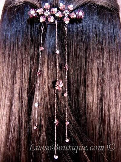"Austrian Crystal Hair Barrette ""Aurora"" Purple free organza bag"