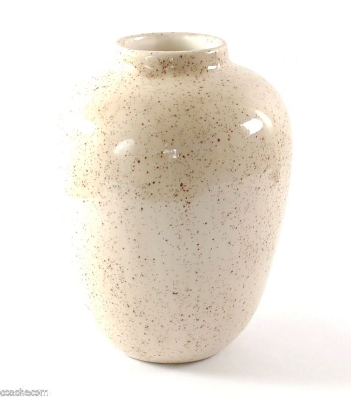 Signed Hand Painted Cherry Blossom Glazed Ceramic Pottery Vase 7-in x 5-in