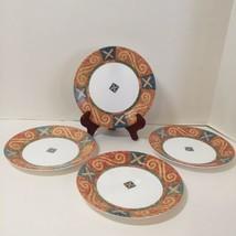 "4 Salad Plates Sand Art Corelle 7.25"" Orange Blue Green  - $14.50"
