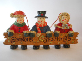 Seasons Greetings Christmas  Snowman Wall Hanging Sign  n42 - $15.99