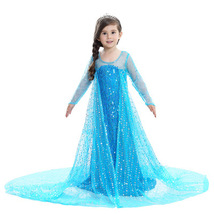 2017 Elsa Anna Princess Dresses Snow Queen Costume Girls Sequined Party ... - £21.36 GBP