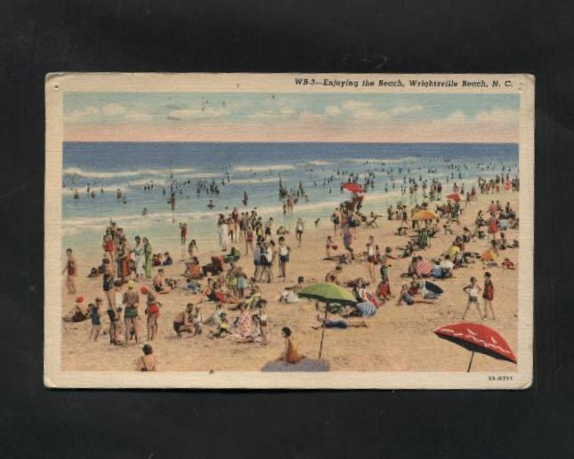 Vintage Linen Postcard Wrightsville Beach NC Sunbathers Ocean Swimmers