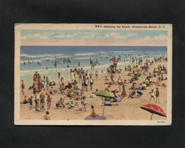 Vintage Linen Postcard Wrightsville Beach NC Sunbathers Ocean Swimmers - $6.99