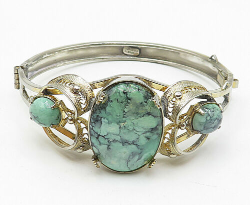SORRENTO 925 Silver - Vintage Turquoise Love Heart Filigree Cuff Bracelet- B5058