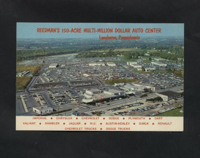 Vintage Postcard 1970s Reedmans Auto Center Langhorne PA Aerial Air View